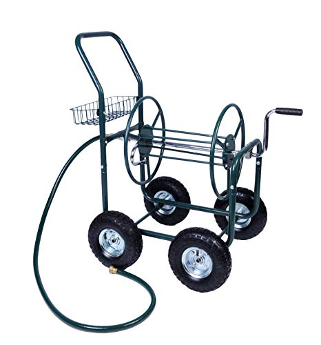 Livebest 4 Wheel Garden Hose Reel Cart Heavy Duty Yard Water Planting with Storage Basket,Holds 390FT Hose