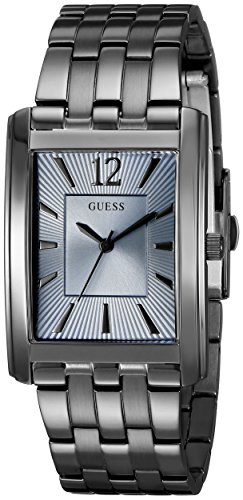 GUESS Men's U0665G2 Sleek Grey Stainless Steel Watch with Sky Blue Dial (Stainless Dial Wet Steel)