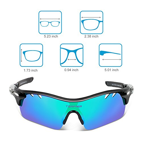 d5f043eb392 Tsafrer Polarized Sports Sunglasses with 6 Interchangeable - Import It All