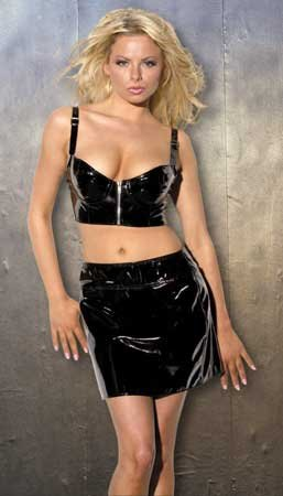 Patent Mini Skirt Back Zipper Opening in Black Sizes Small, Medium, Large or X-Large
