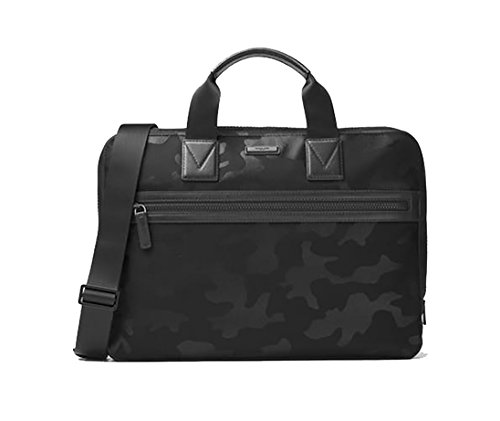 [Michael Kors Mens Parker Camouflage Nylon Leather Briefcase] (Leather Nylon Briefcase)