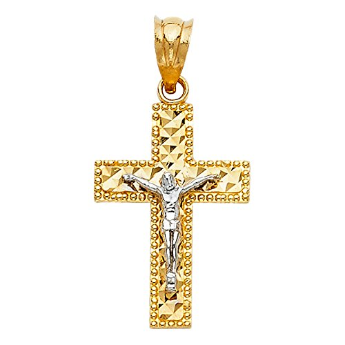 14K Two Tone Gold Crucifix Pendant - Depiction of Jesus Christ on Holy Linear Cross - Christianity Fine Jewelry - Suitable for Men & Women - Ideal Gift for All Special Occasion, 1.3 Grams, 23 x 15 mm