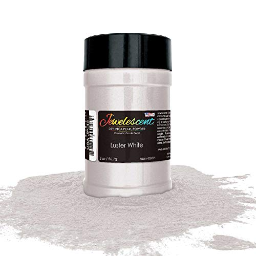 (U.S. Art Supply Jewelescent Luster White Mica Pearl Powder Pigment, 2 oz (57g) Shaker Bottle - Cosmetic Grade, Non-Toxic Metallic Color Dye - Paint, Epoxy, Resin, Soap, Slime Making, Makeup,)