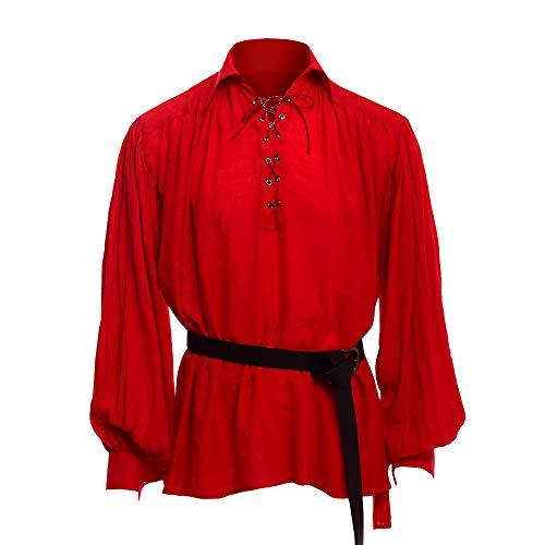[해외]Makkrom 남성 중세 해 적 의상 레이스 업 긴 소매 민소매 바이킹 용 병 르네상스 스코틀랜드 코스 프레 셔츠 / Makkrom Mens Medieval Pirate Costumes Lace up Long Sleeve Sleeveless Viking Mercenary Renaissance Scottish Cosplay Shirts