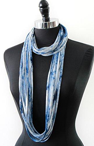 Infinity Scarfs for Women, Cotton Blue Shibori Tie Dye Pattern Print, Lightweight Travel Scarf for Women, Girls, Ladies