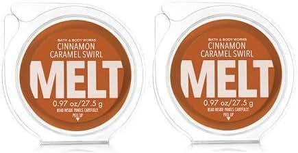 Bath and Body Works 2 Pack Cinnamon Caramel Swirl Fragrance Melt. 0.97 Oz / 27.5 g