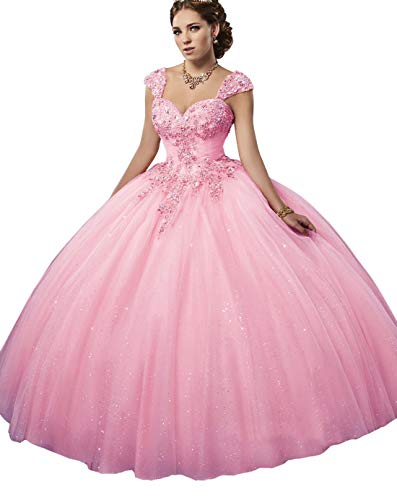 BrinKina Sparkling Tulle Quinceanera Dresses Ball Gown Sweetheart Neck Line Ruched Bodice with Lace and Beads Detachable Straps Sweet 15 Dresses Girls Party Gown Light Pink
