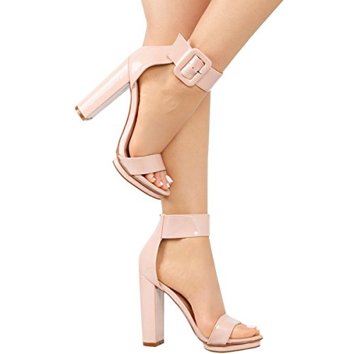 Love Mark Womens Open Toe Buckle Ankle Strap Cuff Platform Chunky Heel Pump Sandal 6 Nude Pat