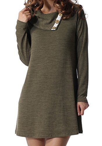 levaca Women's Long Sleeve Button Deco Neck Loose Casual Short T Shirt Dress 41775q 2BZu1L