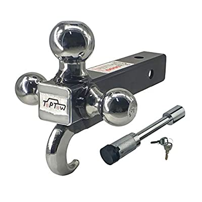 TOPTOW 64180L Trailer Receiver Hitch Triple Ball Mount with Hook, Fits for 2 inch Receiver, Chrome Balls, 2 inch Shank, with 5/8 inch Lock: Automotive