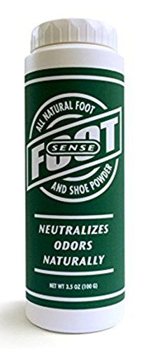 FOOT SENSE All Natural Smelly Foot & Shoe Powder - Foot Odor Eliminator lasts up to 6 months. Safely kills bacteria. Natural formula for smelly shoes and stinky feet. Protects disinfects & deodorizes.