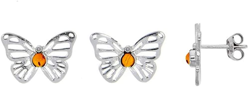 Jouailla 31318206 - Pendientes de mariposa calada con piedra de ámbar, circonita y plata 925/1000 rodiada