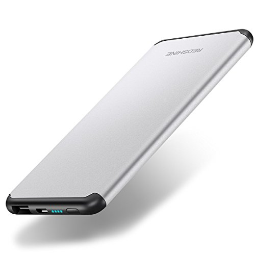 - REDSHINE Ultra Slim Power Bank 8000mAh Portable Charger Lightweight External Battery with Fast Charging for iPhone X/ 8/ 7/ 6/ Plus/ 5/ SE, iPad, Samsung, LG, Google Pixel and More (Sliver)