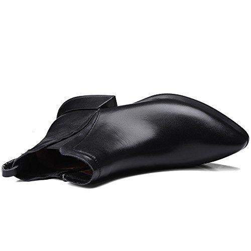 Negen Zeven Lederen Dames Puntige Neus Dikke Hak Handgemaakte Chelsea Laarzen Enkellaarsjes Zwart