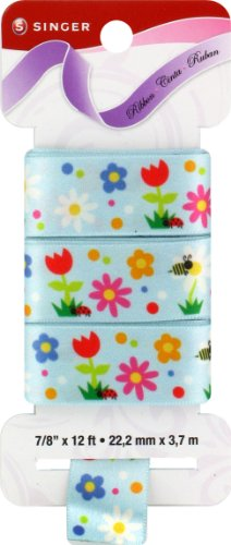 Singer Satin Ribbon, 7/8-Inch by 12-Feet, Spring Fling Print, Tropical -