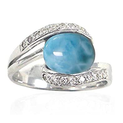 Amazoncom Sterling Silver Ring with Oval Larimar and Round White