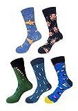 Mens Funny Socks,EmaoFun Colorful Fancy Casual Dress Pattern Crew Socks(Ocean Park)