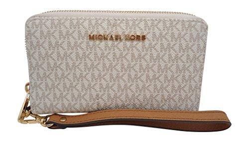 MICHAEL MICHAEL KORS Jet Set Travel Smartphone Wristlet (Signature Vanilla) by Michael Kors