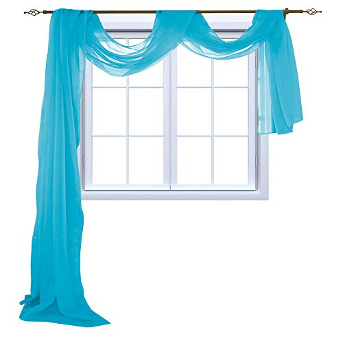 (HOLKING Sheer Panel Curtains Scarf-Home Decor Window Sheer Valance Voile Scarf 1 Piece,52 inches Wide by 216 inches Long,Blue)