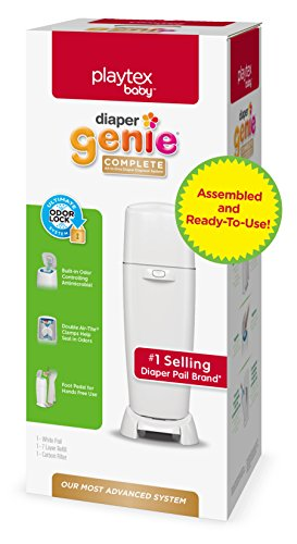 Playtex Diaper Genie Complete Assembled Diaper Pail with Odor Lock Technology & 1 Full Size Refill, White (1 pail and 1 refill per unit) (Baby Boy Hamper Gifts)