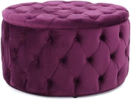 Christopher Knight Home Zelfa Velvet Ottoman, Fuchsia