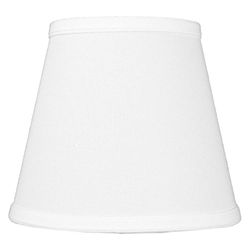 5x8x7 Empire Hardback White Linen Edison Clip-On Lampshade by Home Concept - Perfect for Small Table Lamps, Desk Lamps, and Accent Lights -Small, White