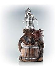 Alpine Old Fashion Pump Barrel Rustic Fountain, 24 Inch Tall