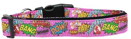 Mirage Pet Products 125-168 MD Superhero Sound Effects Pink Nylon Dog Collar, Medium -