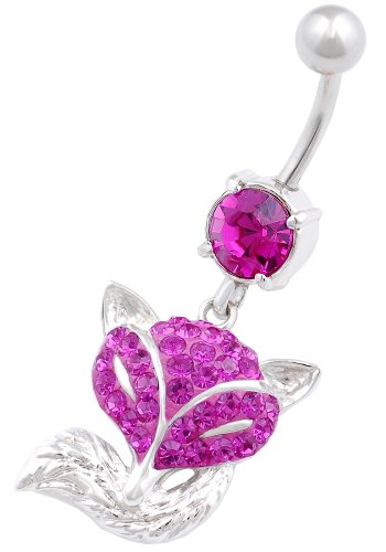 (belly ring Fox 14g navel bar stainless steel crystal hang dangly button jewelry BEGV)