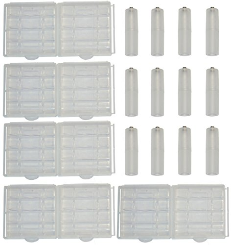 Lontenrea 10 PCS Transparent AA/AAA Battery Storage Case Box Holder and 12 PCS AAA to AA Battery Adapter Converter (Battery Converter Case)