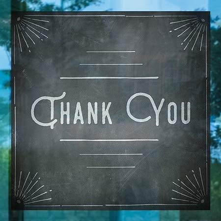 Chalk Corner Window Cling CGSignLab Thank You 5-Pack 24x24