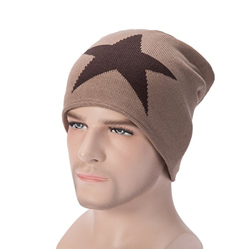Classic Star Slouchy Beanie - WinCret Winter Warm Knit Hat with Thicker Flannel and Soft Beanie Hat for Men and Women