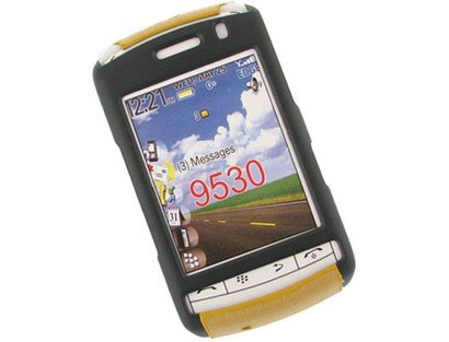 Snap On Rubberized Plastic Phone Protector Black and Gold Case For BlackBerry Storm 9530 9500 -