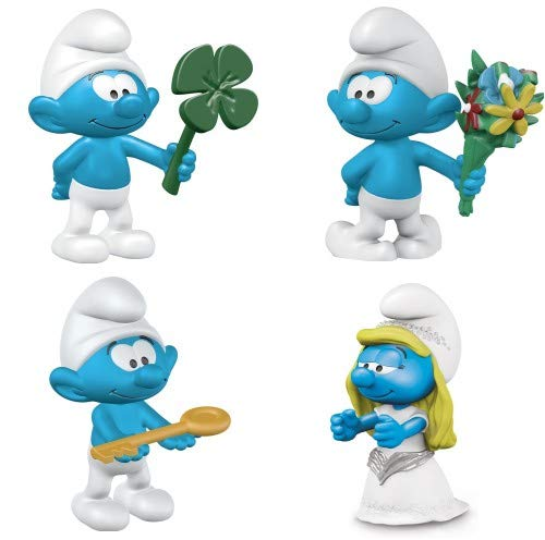 Schleich Smurf Mixed Set of 4 New Smurfs Includes Smurf with Bouquet, Smurf with Key and Smurf with Clover Leaf Packaged, Ready to Give