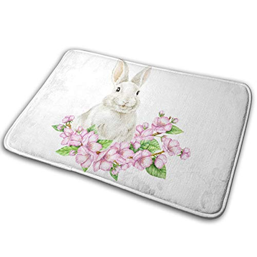 MAEZAP Easter Rabbit Bath Mat Bathroom Shower Rug with Non Slip Backing 16