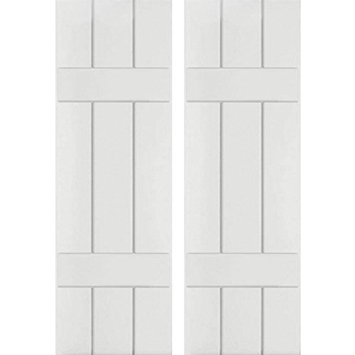 "CWB12X025PRC Exterior Three Board Composite Wood Board-N-Batten Shutters with Installation Brackets (Per Pair), Primed, 12""W x 25""H"