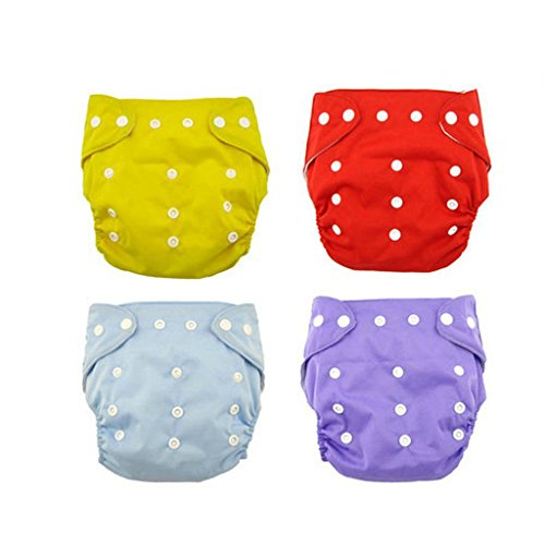 Baby Comfortable Reusable Cloth Diapers Infant Adjustable Washable Diaper Cover (Pack of 4 Pieces )