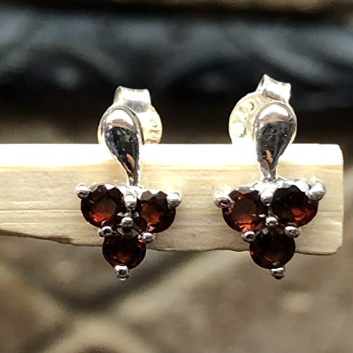 Natural 1.5ct Pyrope Garnet 925 Solid Sterling Silver Stud Earrings 10mm Long