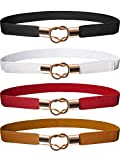 Hestya Women Skinny Waist Cinch Belt Stretchy Waist Retro Metal Elastic Clasp belt For Dress (4, Black Brown Red White)