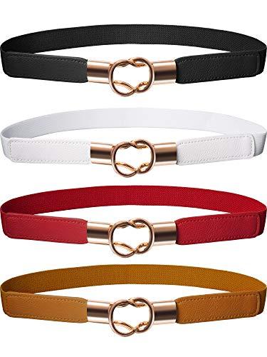 (Hestya Women Skinny Waist Cinch Belt Stretchy Waist Retro Metal Elastic Clasp belt For Dress (4, Black Brown Red White))