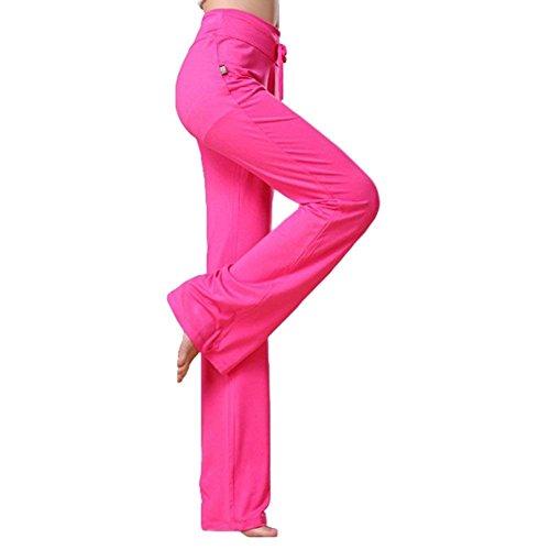 Rose Donna Estivi Eleganti High Waist Elastico Con Moda In Tuta Palestra Monocromo Primaverile Libero Coulisse Tempo Casuale Sportivo Donne Vita Pantaloni Sportivi wBnf14CqW