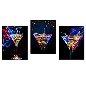 Biuteawal – 3 Piece Wall Art Colorful Sparkling Wine Pictures Painting on Canvas Wine Drinks A