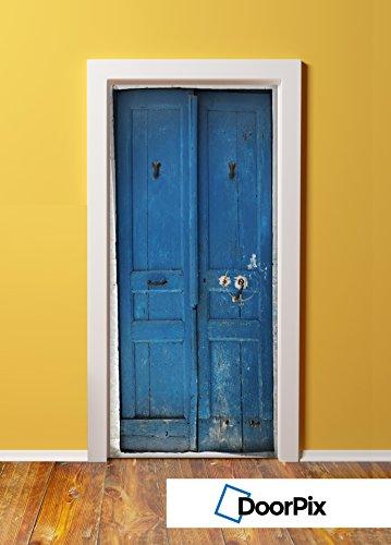 DoorPix 36x80 Inch  3D Door Mural Wrap Matte Bubble Free Sticker Vintage French Blue Double Door  - PEEL and STICK - Easy-to-clean, Durable