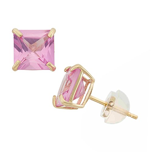 Ring Pink Princess Sapphire (Created Pink Sapphire Princess Cut Stud Earrings in 10K Yellow Gold, 6mm, Comfort Fit)