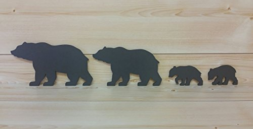 - Bear Wall Art - Cut-Out Bear Wall Art - Bear Woodwork - Wooden Bear Silhouette - Animal Art - Bear Family Art - Black Bear Family of 4