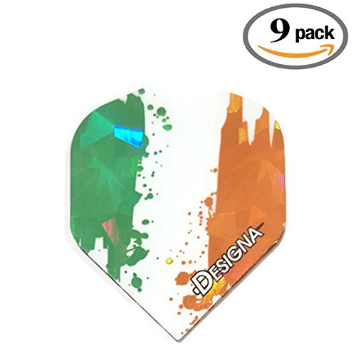 9 Pack Designa Holographic Ireland Fighting Irish 75 Micron Strong Standard Dart Flights