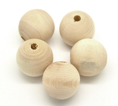 SiAura Material 30 Stück Holzperlen 25mm mit 5mm Loch Rund, Naturfarben zum Basteln und Bemalen