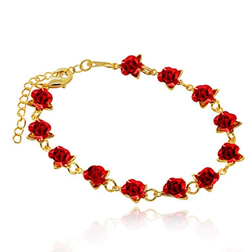 (Uloveido Cute Red Rose Flower Charm Bracelet for Women Girls 18K Gold Plated Nature Jewelry, Wedding Party Bridesmaid Gift (Yellow Gold Color))