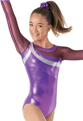 Balera Gymnastics Metallic Leotard Mesh Long Sleeve Grape/Fuchsia Adult Medium