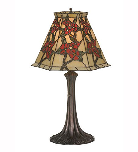 Oriental Stained Glass - Tiffany Style Stained Glass Oriental Peony Accent Table Lamp
